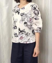 着物リメイクパターン:Tブラウス7分丈パフスリーブ LLサイズ