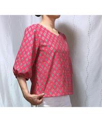 Renewal着物リメイクパターン:Tブラウス7分丈袖パフスリーブ(縫い代つき、作り方つき)
