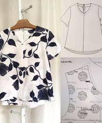 着物リメイクパターンと作り方:Tブラウス半袖