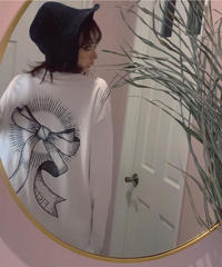 【ホワイト】Back Ribbon Long Sleeve T