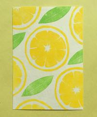 Post Card_ レモン         【 Hand Print card_lemon 】
