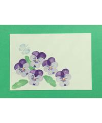 Post Card_ ビオラ(紫)       【 Hand Print card_ viola_violet 】
