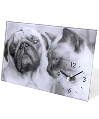 GLASS  ART  PICTURE  CLOCK (DOG&CAT)