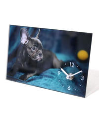 GLASS  ART  PICTURE  CLOCK (DOG B)
