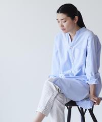 <fruits of life> バンドカラーロングシャツ / 空色(ライトブルー)