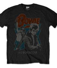 DAVID BOWIE : 1972 world tour (ユニセックス バンドTシャツ) 【HV00-T02-01-S~XL】