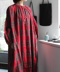 UT200OP046 タータン ギャザーシャツドレス