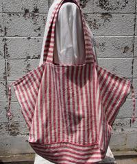 綿麻ストライプボーダークロスバッグ