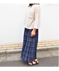 綿ボイルガーゼチェックピンタックギャザースカート