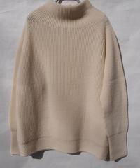 【日本製】7Gウール畦スタンドラグランセーター(Whole Garment Knit)