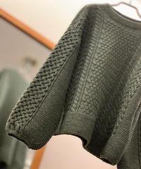 【日本製】ケーブルガーター編みワイドセーター(Whole Garment Knit)