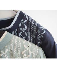 綿ローンリーフストライプ刺繍Aラインチュニック