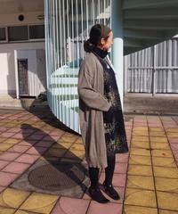 【日本製】シャトー柄スライバー✕畦ニットワンピース