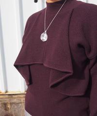 【日本製】畦編みフェイクレイヤードハイネックセーター