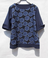 【日本製】サークル貼付けジャガード切替6分袖T