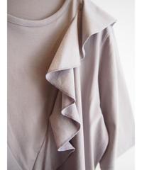 綿シルケットVフリルロングTシャツ