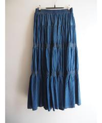 綿100%ブリーチデニムローンティアード切替スカート