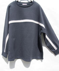 《再入荷》綿PEフライス配色ライン切替長袖Tシャツ