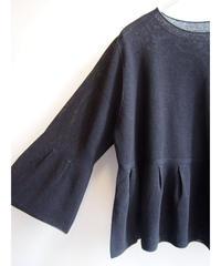 【日本製】鹿の子編みタックフレアープルオーバー ( Whole Garment Knit )