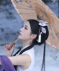 ※再販※「夜桜の灯り」ミニ扇子バレッタ(ペア)【3/25まで】