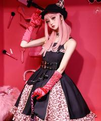 「レオパードA」ジャンパースカート&ベルト&耳付き帽子 セット【3/10まで】