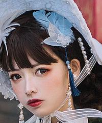 「冠藍鴉」青い羽根バレッタ(単品)【2/15まで】