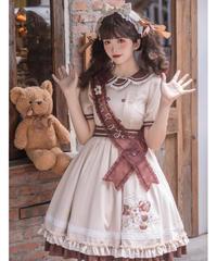 「小熊」ワンピース(肩掛けリボン付き)【予約】