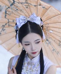 「夜桜の灯り」リボンバレッタ(単品)【3/2まで】