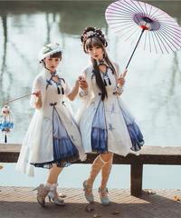 「冠藍鴉」チャイナジャンパースカート(インナースカート セット)【2/15まで】