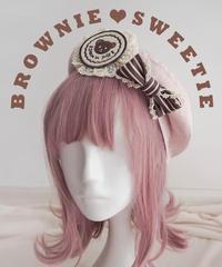 「ブラウニーの恋人」ベレー帽(クマのブローチ付き)【2/27まで】