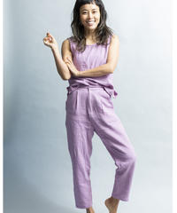 DOUBLE GAUZE COTTON TAPERED PANTS  /color; lilac