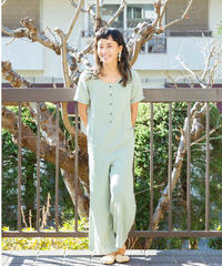 DOUBLE GAUZE COTTON ROMPERS/  color ;ice green