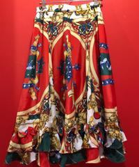 【USED 古着】スカーフ柄 サーキュラースカート used0010