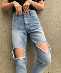 High-waist Tapered Crash DENIM PT