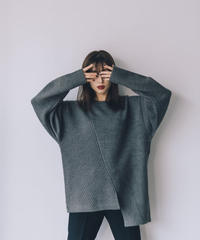 Mix Knit loose TOP / GRAY