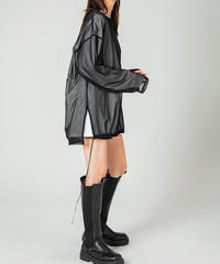 【UNISEX】Mesh Layered L/Sleeve T-shirt / BLACK×WHITE