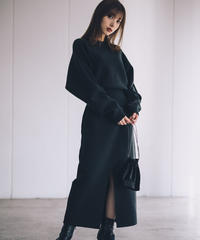 Slit Loose Knit Dress / BLACK