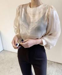 【予約販売】see-through silk  puff sleeve balloon blouse (2color)