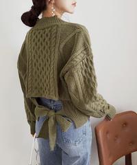 《予約販売》back ribbon cable knit