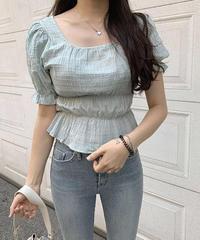《予約販売》square frill puff blouse