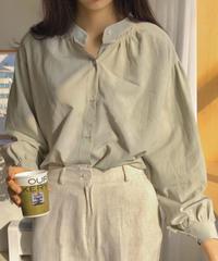 《予約販売》china collar balloon sleeve shirring blouse