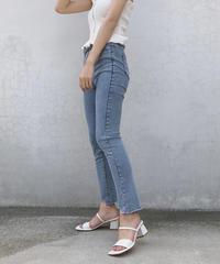 cutoff straight denim pants