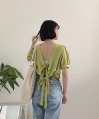 《予約販売》back double ribbon blouse