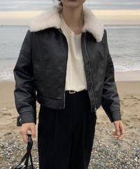 《予約販売》big collar   leather fur jacket