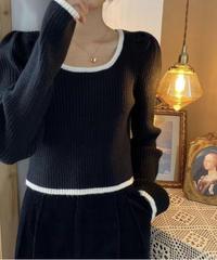 《予約販売》line bi-color puff sleeve cropped knit