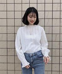 《予約販売》high neck lace blouse