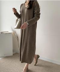 《予約販売》lose fit  long wool one-piece