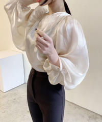 《予約販売》see-through silk  puff sleeve balloon blouse