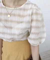 《予約販売》check puff sleeve blouse