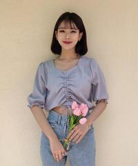 《予約販売》check shirring blouse